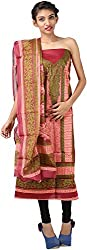 Hardy's Style Women's Cotton Dress Material (HS-27, Maroon & Light Peach)