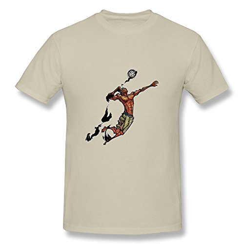 Tbtj-X Man Hitting Volleyball Tee Shirts For Boy Natural Large