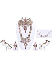 Designer Magenta Green Patwa Stone Wedding Bridal Jewellery Set
