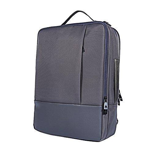Skitic Multi-funzionale Impermeabile 16.5 Pollici Laptop Backpack Zaino,Convertibile Messenger Singola Tracolla Borsa Bag, Attività Commerciale Travel Borsetta Handbag per Macbook / Notebook / Tablet PC / Ultrabook / Chromebook - Grigio