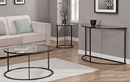 Lightweight Tempered Round Glass Top Metal Frame Coffee Table Easy to Assemble for Indoor Use