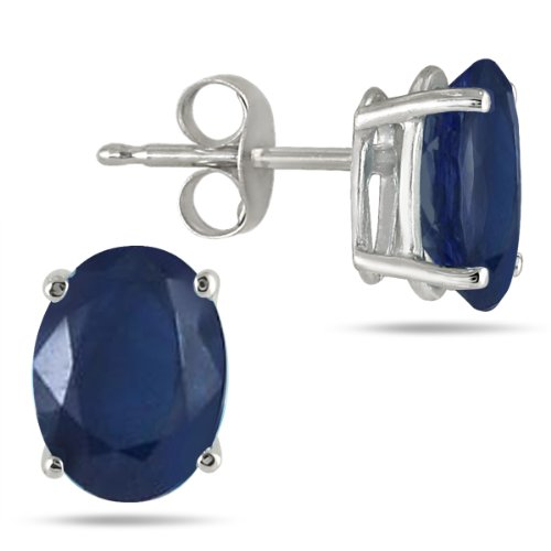 All-Natural Genuine 6x4 mm, Oval Sapphire earrings set in Platinum: SZUL: Jewelry