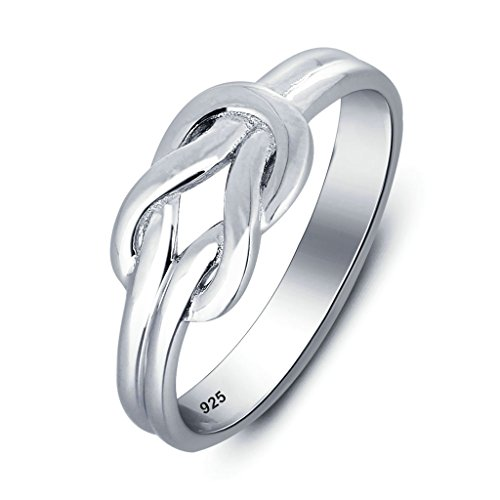 925 Sterling Silver Ring, Women's Wedding Bands Silver True Love Knot Bands Size 7 Epinki