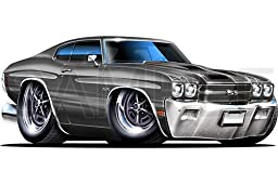 Chevelle SS 1970 Gray 48 inch Wall Skin Graphic