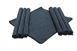 Home Colors Black Cotton Table Linen Set (6 Placemats and 1 Table Runner)