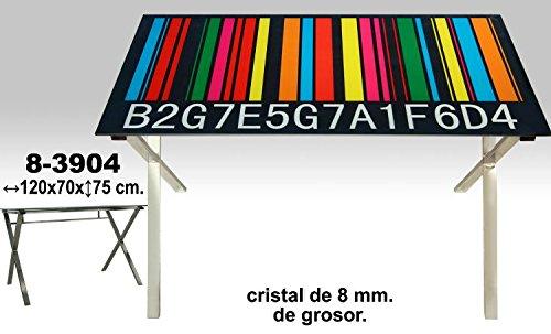 DonRegaloWeb - Mesa de metal cromado sobre cristal decorado con un código de barras de colores