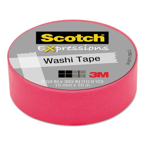 "Scotch Expressions Washi Tape, .59"" X 393"", Neon Pink"