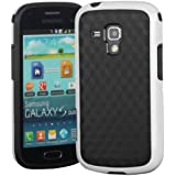 Cotowin Dual Color Anti-slip Cube Pattern TPU Soft Case Cover for Samsung Galaxy S Duos S7562 S7560 S7560M / Duos 2 S7582 S7580 [Black/White] + Screen Film