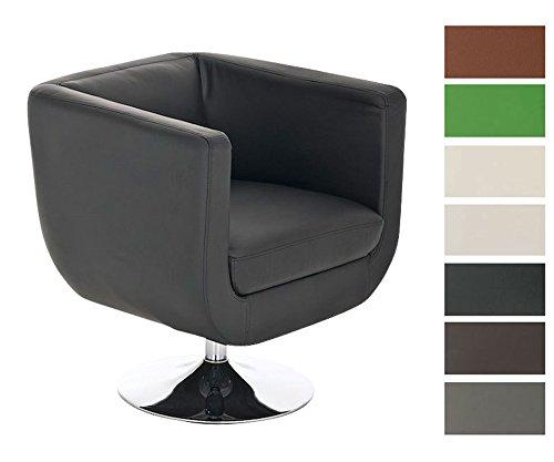 CLP-runder-Design-Leder-Loungesessel-COLORADO-im-Retro-Stil-drehbar-aus-bis-zu-7-Farben-whlen-schwarz