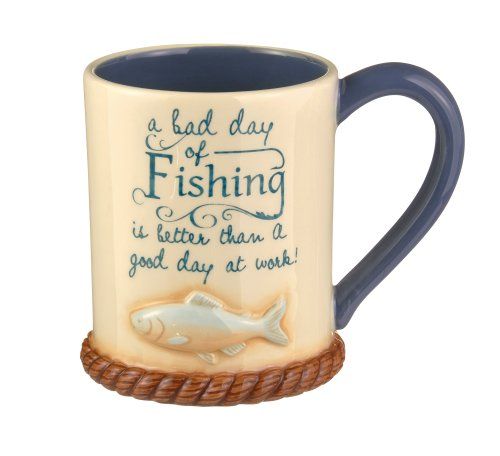 Grasslands Road A Bad Day Of Fishing Mug, 15-Ounce, Set Of 4