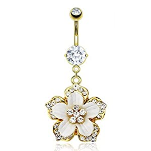 """Gold IP Over 316L Surgical Steel Navel Ring with Multi CZ Paved Hawaiian Flower with White Epoxy - 14 GA 3/8"""" Long from West Coast Jewelry"""