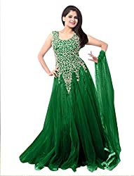 Ethnicbasket Women's Net Ethnic Semi-Stitched Gown (BE234014I_Green)