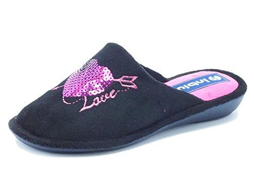 Pantofole per donna inBlu Love in tessuto nero (Taglia 39)