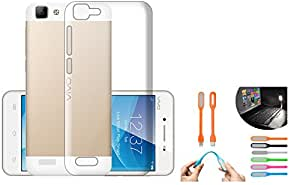 Vivo V1 Case Soft Back Cover ,Lightweight,Shock Absorbing Transparent Soft Back Case Cover + Free USB LED Light