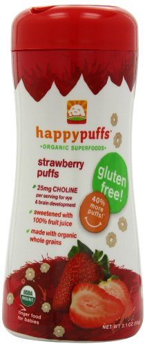 Happy Baby Gluten-Free Organic Puffs, Strawberry Puffs, 2.1-Ounce Containers (Pack of 6)