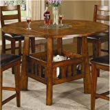 Counter Height Table with Drop Leafs and Lazy Susan in Dark Oak Finish