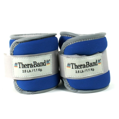 Thera-Band 25872 Comfort Fit Ankle/Wrist Cuff Weights, Blue, 2.5 Pounds Each Cuff, 1 Pair front-85828