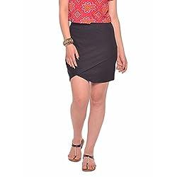 Vvoguish Corporate Wear Cotton Solids Black Skirt-VVSK827BLK-XL