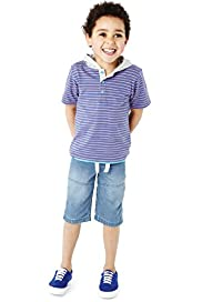 2 Piece Pure Cotton Hooded Striped T-Shirt & Shorts Outfit