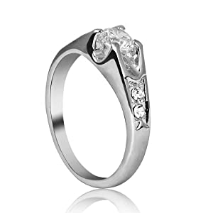 FASHION PLAZA White Gold Finish Cubic Zirconia Engagement Ring with Cubic Zirconia shoulders (Available In Sizes K L O P R) R69-R