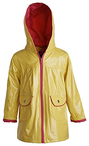 Wippette Baby Girls Waterproof Vinyl Fully Lined Hooded Raincoat Rain Jacket - Lemonade (12 Months)