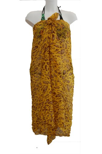 Tamari Yellow Leopard Print Sarong Beach Cover Up Wrap Dress For Women One Size