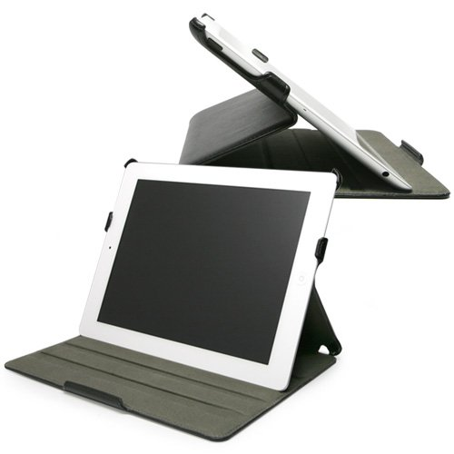 BoxWave Nero Leather iPad 2 Book Jacket (Slim Faux Leather Folio Case w/ Multi-Angle Stand)