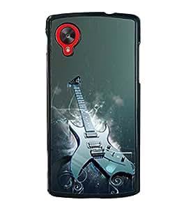 Fuson Premium 2D Back Case Cover Stylish Guitar With Red Background Degined For LG Google Nexus 5::LG Google Nexus 5 (2014 1st Gen)