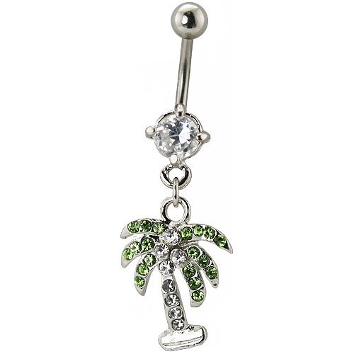 Gorgeous Swarovski Crystal Palm Tree Belly Bar