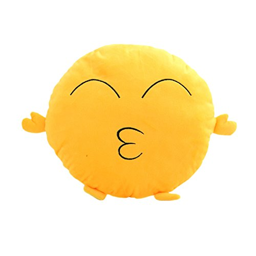 For Sale! HeroNeo® Soft Emoji Smiley Emoticon Yellow Round Cushion Pillow Stuffed Plush Toy Doll (L...