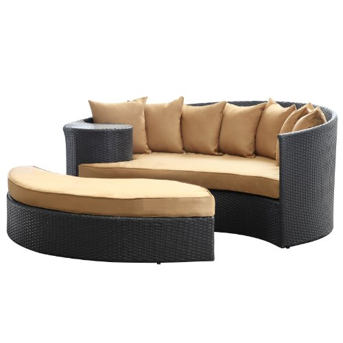 LexMod Taiji Outdoor Wicker Patio Daybed with Ottoman in Espresso with Mocha Cushions picture