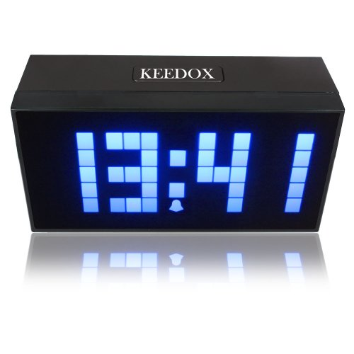 KEEDOX® Digital Large Display Soft Blue LED Light Snooze Wall Desk Alarm Calendar Clock