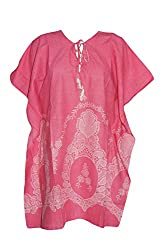 Indiatrendzs Women's Rayon Embroidered Pink Kaftan Style Top Chest : 46