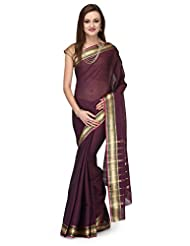 Violet Cotton Saree With Zari Border