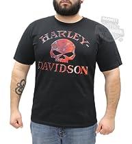 Harley-Davidson Mens Faster Wheel Willie G Skull Black Short Sleeve T-Shirt - LG