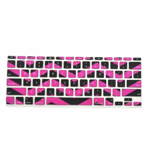 TopCase Black Chevron Series Zig-Zag Silicone Keyboard Cover Skin for Macbook Air 11