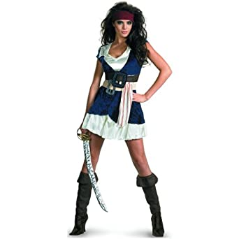 Disguise Unisex Adult Sassy Jack Sparrow, Blue/White, Small (4-6) Costume