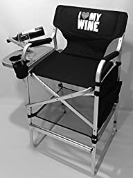 I Love Wine–Deluxe Tall Director Wine Chair-High Quality Product-