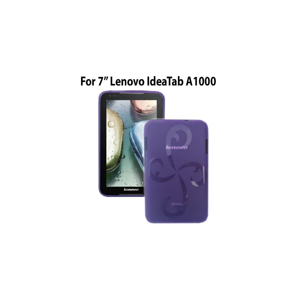 HappyZone Rubberized TPU Skin Case Cover (Purple) For Lenovo IdeaTab A1000 Tablet