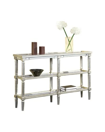 Florentine Console Table, Silver Leaf/Antique Mirror
