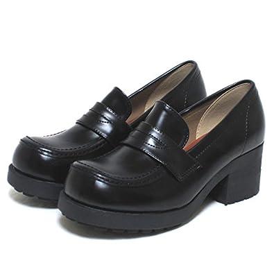 HARVAR [ハーバー] 厚底ローファー通学靴No85 BK 22.5