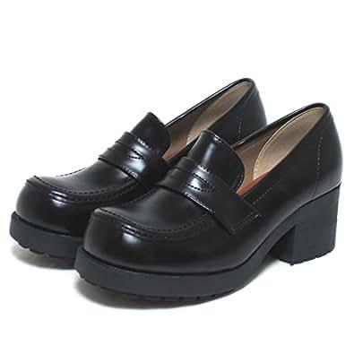 HARVAR [ハーバー] 厚底ローファー通学靴No85 BK 23.0