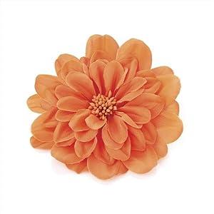 Orange Layered Boho Flower Hair Elastic Beak Clip