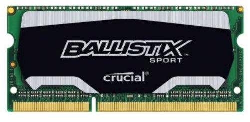 Crucial Ballistix Sport Memoria RAM, SODIMM DDR3, PC3-12800, 4 GB, CL9, Nero
