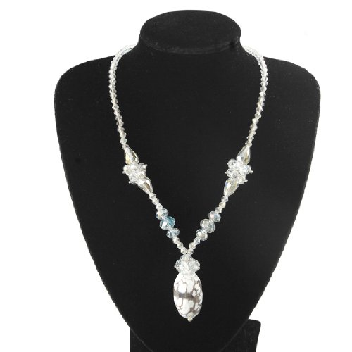 Rosallini Ladies Glittery Clear Faceted Plastic Beads Necklace Gift