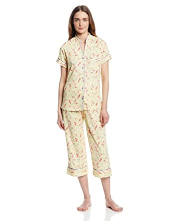 White Orchid Women's Solid Top with Print Pant Pajama, Yellow Bird Floral, Small