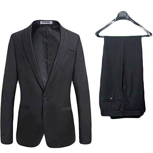 (ベルク)VELUC-【menz-20-30】 メンズ スーツ パンツ 上下 セット 1つボタン フォーマル 通勤 七五三 結婚式 冠婚葬祭 2次会 スタイリッシュ ダークカラー ブラック M/L/XL (XL)~ オリジナルメッセージカードセット ~