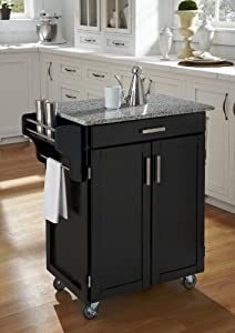 Cuisine Kitchen Cart Black/Grey Granite