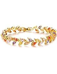 Cyan 18 K Gold Plated Cubic Zircon Tennis Bracelet For Women