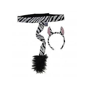 Making Believe Kids Plush Zebra Headband Ears & Tail Jungle Safari Dressup Costume Set
